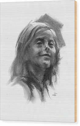 Wood Print featuring the drawing Sophie by Paul Davenport
