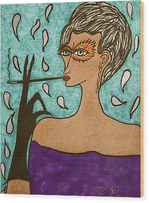Wood Print featuring the drawing Sophisticada by Chrissy  Pena