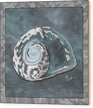 Sophisticated Coastal Art Original Sea Shell Painting Beachy Sea Snail By Megan Duncanson Of Madart Wood Print by Megan Duncanson