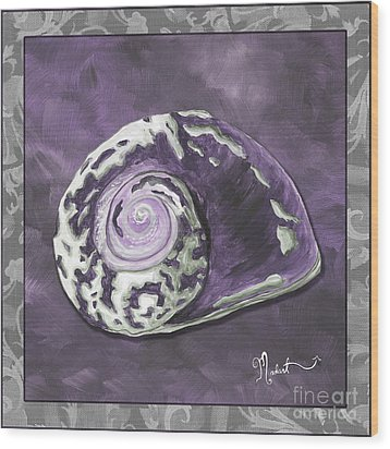 Sophisticated Coastal Art Original Sea Shell Painting Purple Royal Sea Snail By Madart Wood Print by Megan Duncanson