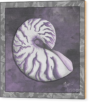 Sophisticated Coastal Art Original Sea Shell Purple Painting Royal Nautilus By Madart Wood Print by Megan Duncanson