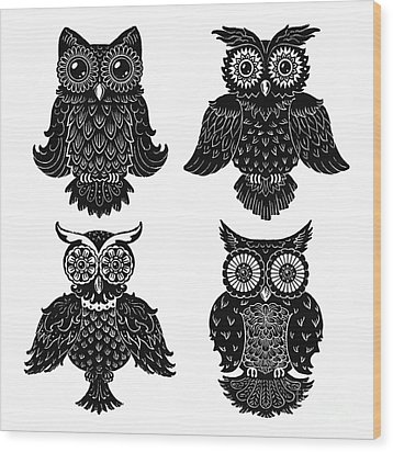 Sophisticated Owls All 4 Wood Print by Kyle Wood