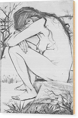 Sorrow After Vincent Van Gogh  Wood Print by Tracey Harrington-Simpson