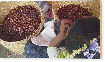 Wood Print featuring the photograph Sorting Water Chestnuts Zay Cho Street Market 29th Street Mandalay Burma by Ralph A  Ledergerber-Photography