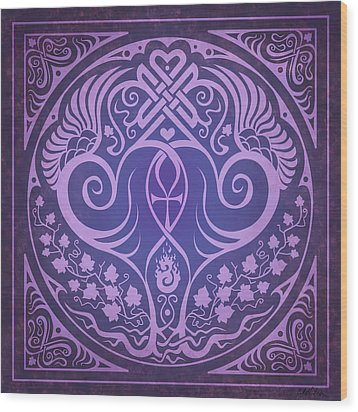 Soul Mates - Purple Wood Print by Cristina McAllister