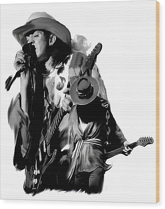 Soul To Soul  Stevie Ray Vaughan Wood Print by Iconic Images Art Gallery David Pucciarelli