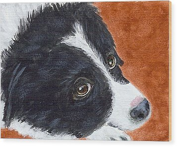 Wood Print featuring the painting Soulful Eyes by Fran Brooks
