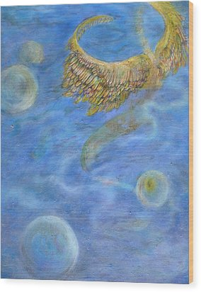 Soul's Flight In The Ocean Of Time And Space Wood Print by Jacquelyn Roberts