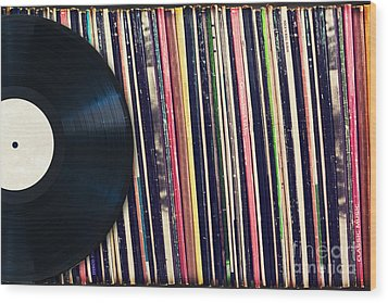 Sound Of Vinyl Wood Print by Delphimages Photo Creations