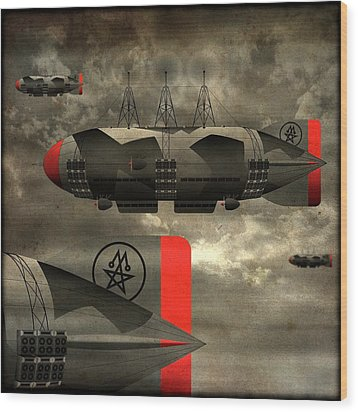 Wood Print featuring the digital art Sound Zeppelins by Milton Thompson