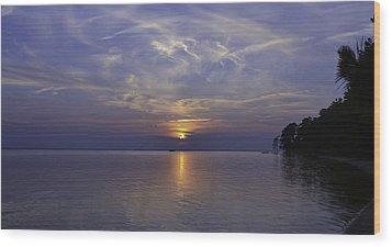 Soundside Sunset Wood Print