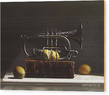 Sour Notes Wood Print by Larry Preston
