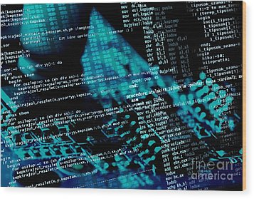 Source Code Wood Print by Peter Gudella