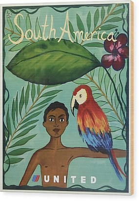 South America United Airlines Wood Print