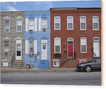 Wood Print featuring the photograph South Baltimore Row Homes by Brian Wallace