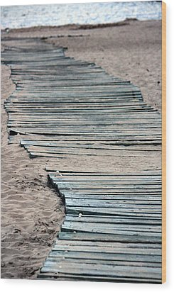 South Beach Boardwalk Wood Print by Penny Hunt
