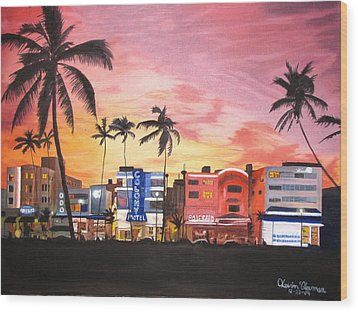 South Beach Ocean Drive Wood Print by Kevin F Heuman
