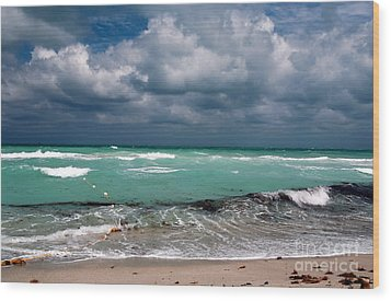 South Beach Storm Clouds Wood Print by John Rizzuto
