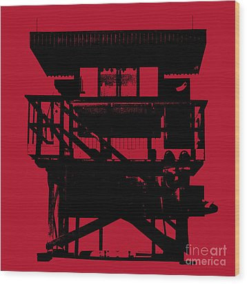 Wood Print featuring the digital art South Beach Lifeguard Stand by Jean luc Comperat
