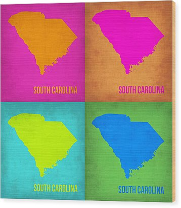 South Carolina Pop Art Map 1 Wood Print by Naxart Studio