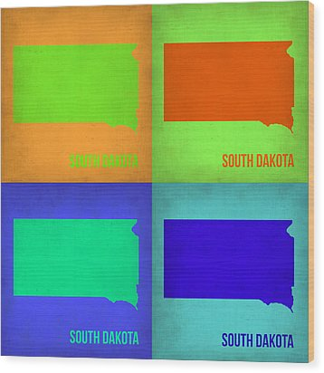 South Dakota Pop Art Map 1 Wood Print by Naxart Studio