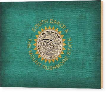 South Dakota State Flag Art On Worn Canvas Wood Print by Design Turnpike