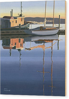 Wood Print featuring the painting South Harbour Reflections by Gary Giacomelli