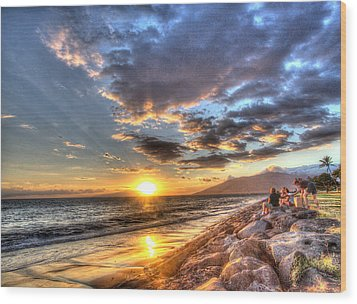 South Kihei Sunset Wood Print