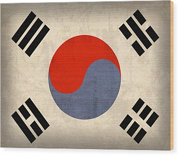 South Korea Flag Vintage Distressed Finish Wood Print by Design Turnpike