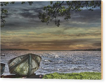 South Manistique Lake With Rowboat Wood Print