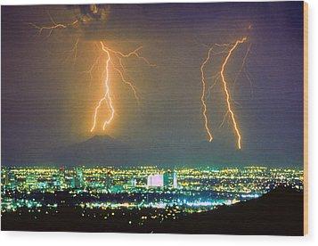 South Mountain Lightning Strike Phoenix Az Wood Print by James BO  Insogna