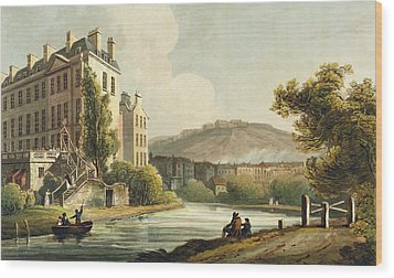 South Parade From Bath Illustrated Wood Print by John Claude Nattes