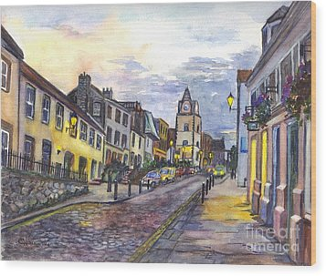 Nightfall At South Queensferry Edinburgh Scotland At Dusk Wood Print