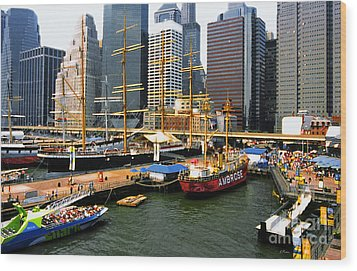 South Street Seaport -nyc Wood Print by Linda  Parker