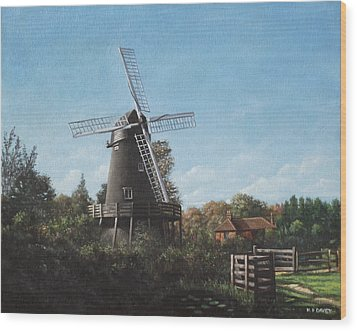 Southampton Bursledon Windmill Wood Print by Martin Davey