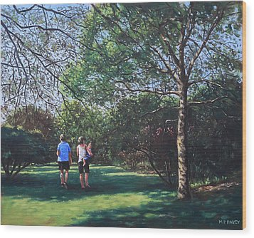 Southampton People In Park Wood Print by Martin Davey