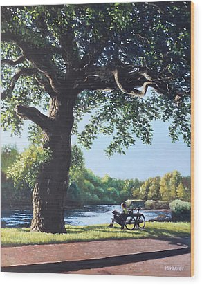 Southampton Riverside Park Oak Tree With Cyclist Wood Print by Martin Davey