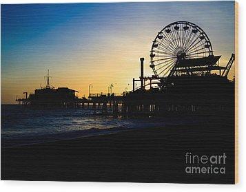 Southern California Santa Monica Pier Sunset Wood Print by Paul Velgos