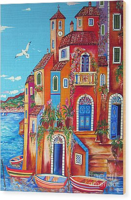 Southern Italy Amalfi Coast Village Wood Print by Roberto Gagliardi