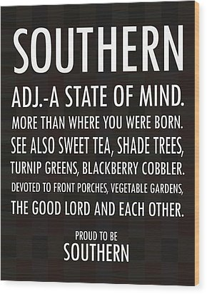 Southern State Of Mind Black And White Wood Print by Debbie Karnes