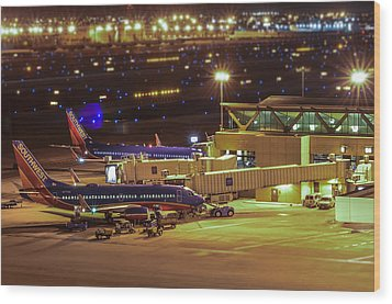 Southwest 737s In For The Night Wood Print