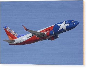 Southwest Boeing 737-3h4 N352sw Lone Star One Taking Off Phoenix Sky Harbor March 6 2015  Wood Print by Brian Lockett
