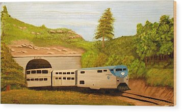 Wood Print featuring the painting Southwest Chief At Raton Pass by Sheri Keith