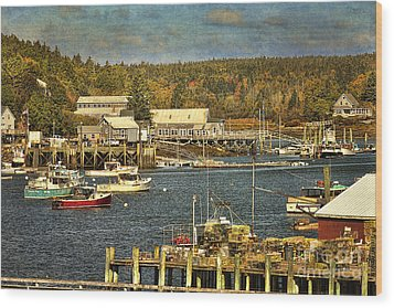 Southwest Harbor Wood Print by Cindi Ressler