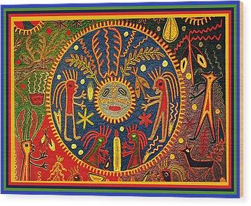 Southwest Huichol Del Sol Wood Print by Vagabond Folk Art - Virginia Vivier