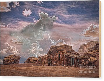 Southwest Navajo Rock House And Lightning Strikes Hdr Wood Print by James BO  Insogna
