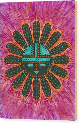 Wood Print featuring the painting Southwest Sunburst Sunface by Susie Weber
