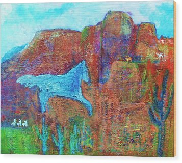 Southwestern Dreamscape  Wood Print by Anne-Elizabeth Whiteway