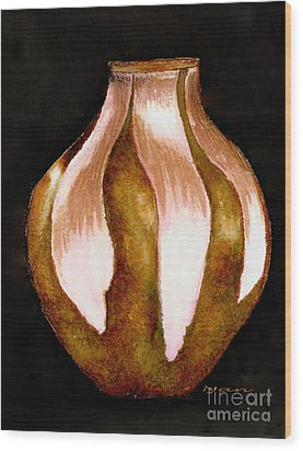 Wood Print featuring the painting Southwestern Pottery Still Life by Nan Wright