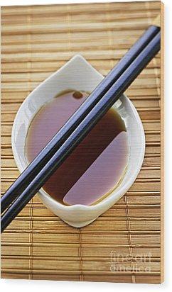 Soy Sauce With Chopsticks Wood Print by Elena Elisseeva